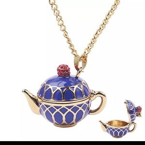 Blue enamel cz openable teapot necklace